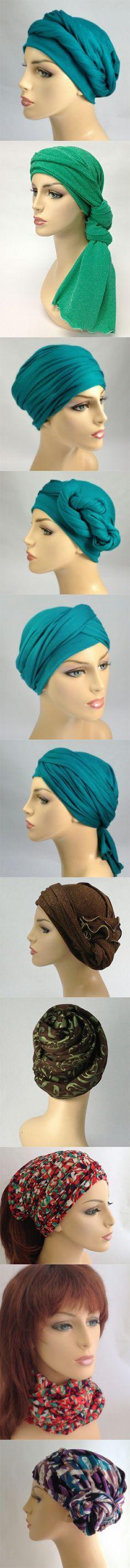 A few of the many ways to style a 1 piece TurbanDiva Wrap! So easy & no slipping when you wrap! http://www.turbandiva.com/TURBAN-HEAD-WRAPS-One-Piece_c_55.html
