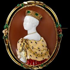 Queen Victoria Paris, 1851, by Félix Dafrique; cameo by Paul Lebas (active 1829-70). Shell, gold, enamel, emeralds and diamonds. (Victoria & Albert Museum)