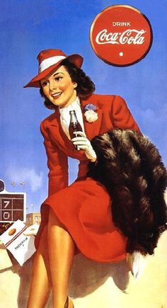 have a coke sign of a lady in traveling attire with a fur coat drinking a Coke.