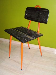 Upcycled Computer Keyboard Chair From an Old Metal Chair.
