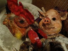 RESERVED for SALLY Farm animals paper mache Rooster mask. $40.00, via Etsy.