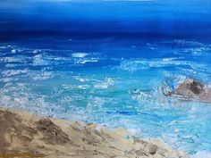 *********ROCK SEA********** Size: 31x47 cm (12x18pollici) Support: Canvas Materials: Professional Oil Colors, Final Satin Varnish Date: 2018 Style: Modern Contemporary Shipping: 1-3 working days to prepare the order, it will arrive in 1-3 weeks. I can realize the same