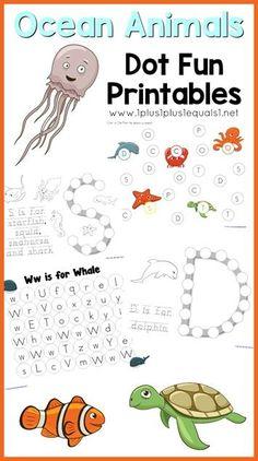 Ocean Animals Dot Fun Printables