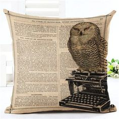 New Arrival Throw Pillow Cushion Home Decor Couch Newspaper With Owl Printed Linen Cuscino Square Cojines Almohadas Rustic Decorative Pillows, Decorative Pillow Cases, Gold Pillows, Diy Pillows, Room Decor For Teen Girls, Urban Outfitters, Living Room Decor Pillows, Luxury Duvet Covers, Luxury Bedding