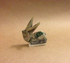 One dollar bill money origami Rabbit The best by OrigamiToImpress, $3.75 Origami Mouse, Origami Fish, Money Origami, Origami Paper, Origami Gifts, Diy Origami, Origami Love Heart, Origami Star Box, Folding Money