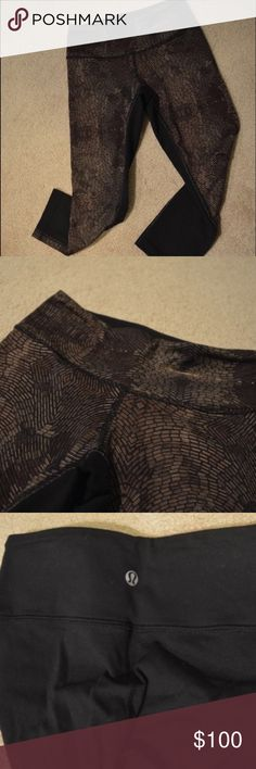(RARE) LULELEMON full LUON III Capri ⚡️ This is a pair if Lululemon 3 full LUON Capri that brown gold and black on the front and all black on the back.. They wick away moisture and odor keeps you dry when wearing.. The fabric is made to move when you move. Size is 4 lululemon athletica Pants Capris