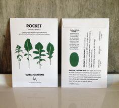 Britt's artwork and design for ROCKET Seed Packets / Edible Gardens LA Packaging Design, Branding Design, Stationery Printing, Seed Packets, Edible Garden, Mark Making, Graphic Design Illustration, Editorial Design, Letterpress