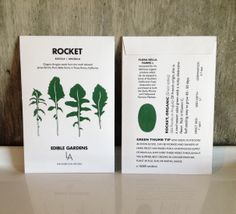 Artwork and design for ROCKET Seed Packets / Edible Gardens LA by Britt Browne