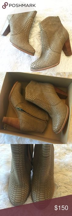 NIB Joie Dalton Embossed Booties SO cute and perfectly on trend! Blogger favorite. Brand new in the box! Size 40. Taupe color- grey/tan. Retail $335. No trades!! 042017420nrk Joie Shoes Ankle Boots & Booties