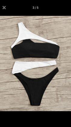 Black & White One Shoulder Cut Out Swimsuit High Cut Bikini Bottom Black Cut Out Bikini, High Cut Bikini, One Shoulder Bikini, Shoulder Cut, Shoulder Strap, Two Piece Bikini, Bikini Set, Fringe Bikinis, Flounce Bikini