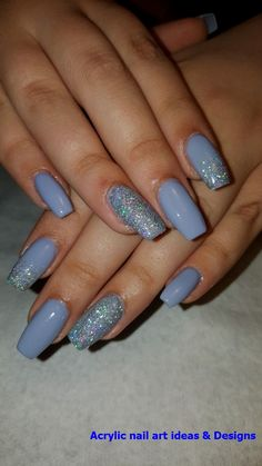 In seek out some nail designs and some ideas for your nails? Here's our set of must-try coffin acrylic nails for modern women. Simple Acrylic Nails, Summer Acrylic Nails, Blue Acrylic Nails Glitter, Glitter Makeup, Silver Glitter, Aycrlic Nails, Swag Nails, Coffin Nails, Manicure