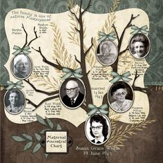 34 Ideas Family Tree Scrapbook Galleries For 2019 Heritage Scrapbook Pages, Vintage Scrapbook, Scrapbook Page Layouts, Scrapbooking Ideas, Digital Scrapbooking, Family Tree Layout, Family Tree Chart, Family Trees, Scrapbook Paper Crafts