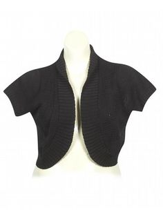 Plus Size Black Lace Back Shrug