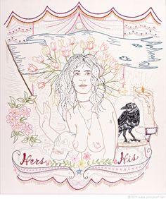 "Jenny Hart | Patti Smith Transfigured - 2014, 26 1/2"" x 31"", hand embroidery on cotton"