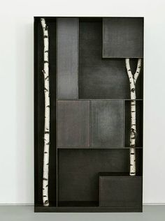 Mondrianesque Metal Shelving :: Andrea Branzi Incorporates Real Birch Trees.