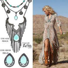 Maravilhoso conjunto turquesa!   Kit Colar Boho Paradise + Kit Brinco Drop - Pacific Opal! Custo total do Look: R$41,40!!!