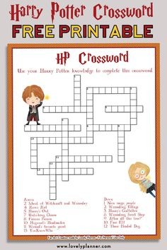 Free Printable Harry Potter Crossword puzzle - A fun way to test your knowledge of the Harry Potter saga! Harry Potter Fiesta, Harry Potter Party Games, Harry Potter Activities, Harry Potter Classroom, Harry Potter Printables, Objet Harry Potter, Cumpleaños Harry Potter, Harry Potter Halloween, Harry Potter Birthday