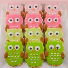 The most adorable owl cookies—and even in my favorite colors of pink and green!