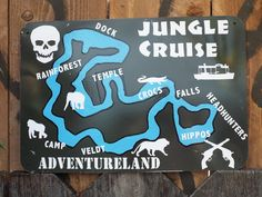 Jungle Cruise Map -- Walt Disney World Inspired. It's about time the Florida Jungle Cruise got some lovin. Now you can navigate around the Jungles of the world with this map of Walt Disney World's Jungle Cruise! WDW's Jungle Cruise inspired me to create these metal signs that are hand painted and then shot up with real guns to give them that authentic look. This also makes each sign unique. Each sign is approx. 12x8. This is perfect for the Skipper or Explorer in your life. Since I've had...