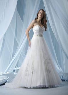 A-line Sweetheart Pleated Bodice Skirt Beaded Waistline Tulle Wedding Dress-wa0131, $247.95