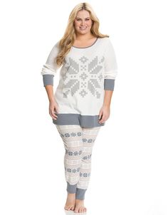 6fe345aeaaf Plus size Snowflake thermal PJ set by Cacique