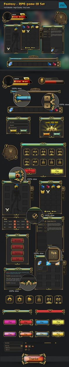 RPG game Gui set by Quy Do, via Behance