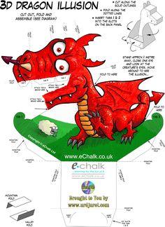 Dragão Vermelha 3D de Papel que Mexe a Cabeça