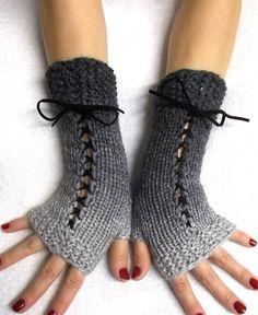 Knit Fingerless Gloves Grey Shades Corset Wrist Warmers for Women Victorian St. Crochet Gloves Pattern, Knitting Patterns, Knit Crochet, Crochet Patterns, Best Gloves, Stitch Witchery, Fingerless Gloves Knitted, Wrist Warmers, Knitting Accessories
