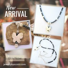 Stone Butterfly Pendant Necklace with hematite and ivory catseye beads. Follow Jewelry by Scotti on Pinterest to be the first to see new products & sales. Shop now: www.jewelrybyscotti.com #handmade #jewelry #OOAK #fashion #gifts