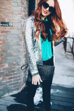 sequin blazer with a bow | www.LittleJStyle.com
