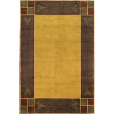 Paradise Valley.  A hand-knotted wool Tibetan rug with simple geometric shapes reminiscent of Frank Lloyd Wright designs. The rich brown, gold and rust colors are of Paradis