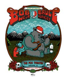 Cool gig poster for Bob Weir and Bruce Hornsby by Matt Leunig.