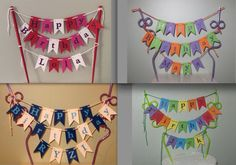 Any Name personalised Cake Bunting -Card Stock Flags, Garland, for any occasion