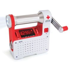 This is the portable radio recommended by the Red Cross for emergency preparedness. It combines several emergency tools into one handheld unit, including a radio, LED flashlight, beacon, and cell phone charging port.