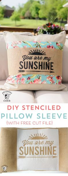 DIY Stenciled Burlap Pillow Sleeve Tutorial (with Free SVG cut file)