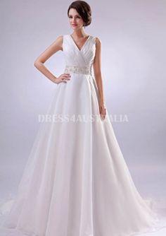 5430cc42c7d A-Line V-Neck Appliques Beaded Waistline Organza Overlay Chapel Train Wedding  Dresses Gowns