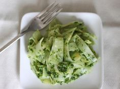 Celeriac Noodles with Parsley Pesto - There are several types of vegetables that can be used to mimic noodles (spaghetti squash, zucchini) but none do it as well as celeriac. Peeled strands of this rugged root will cook to al dente in less than 3 minutes, making a fine bowl of faux fettuccine.