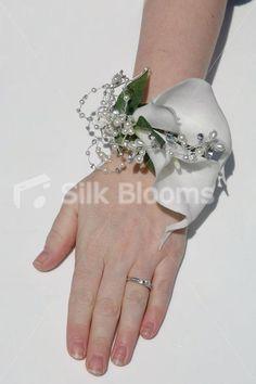Vintage White Calla Lily Crystal Pearl Wedding Wrist Corsage | eBay