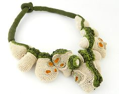 Green and Beige  Crochet Necklace with Beads
