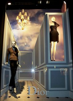 Dior Perspective 1 - A Bergdorf Goodman window display featuring Dior Spring fashion.