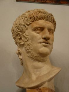 Bust of Nero. This was the last Emperor of the Julio-Claudian dynasty that ended with his suicide in 68 CE. His reign's end marked a time of turmoil in Rome before Titus assumed the throne towards the later part of the Early Empire