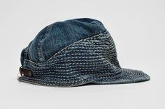 Kapital Kogin Blue Washed Country Cap : Rooted in Japanese traditions of quality and craftsmanship, Kapital began its journey with Hat World, Denim Cap, Japanese Denim, Recycled Denim, Head And Neck, Mens Caps, Headgear, Hats For Men, Denim Fashion