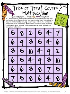 Halloween Multiplication Board Game from Halloween Math Games, Puzzles and Brain Teasers is a collection of Halloween Math by Games 4 Learning. $