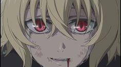 essa imagem *-*      Mika virou vampiro por completo ;-;            owari no seraph - seraph of the end - Hyakuya Mikaela - MIka - Red eyes - olhos vermelhos - anime - mangá - boy