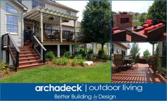 Low maintenance deck, vinyl pergola, and outdoor fireplace - http://chicagoland.archadeck.com/
