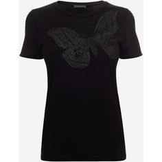 Alexander McQueen Moth Embroidered Fitted T-Shirt (34.910 RUB) ❤ liked on Polyvore featuring tops, t-shirts, black, jersey tee, cotton tee, fitted tee, short sleeve tops and cotton jersey t shirt
