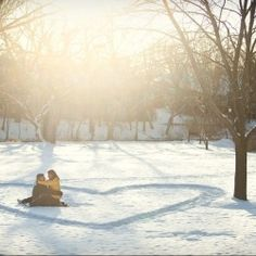 Heart of snow filled with two love birds <3