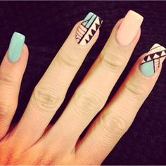 Blue & pink tribal nails