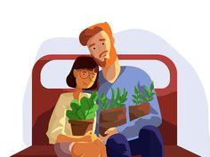 https://dribbble.com/shots/3477863-Honey-couple-with-pot-of-flowers-in-train