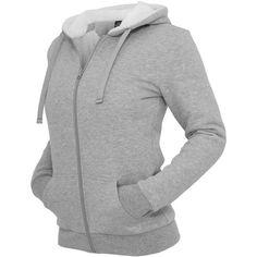 Urban Classics Ladies Hoodie Winter Zip Hoody, grau/weiss TB396 ($15) ❤ liked on Polyvore featuring tops, hoodies, sweatshirts hoodies, zipper hoodie, hooded sweatshirt, zippered hooded sweatshirt y zip top